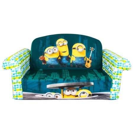 Marshmallow Furniture, Children's 2 in 1 Flip Open Foam Sofa, Despicable Me Minions, by Spin Master, Beige