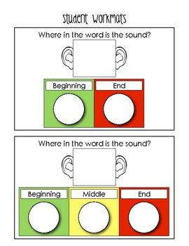 """This is a sample student think-mat from an activity in the """"Phonemic Awareness Fun"""" pack.  All the activities in the pack appeal to your kinesthetic and sensory learners.  20 pages, $"""