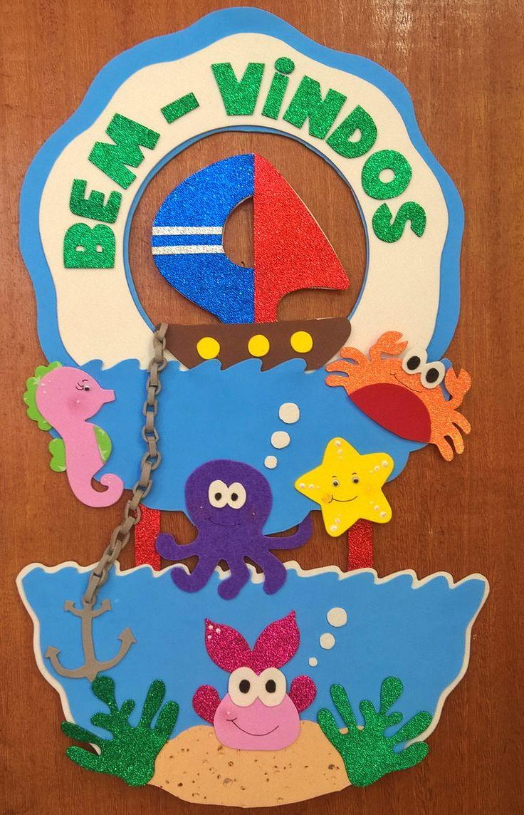 """Decore a sua sala de aula com este lindo painel de """"Bem vindos"""" com o tema fundo do mar. Confeccionamos em qualquer tema."""