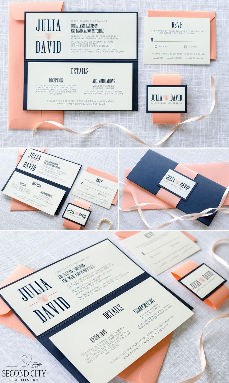 Navy Blue, Coral, And Ivory Wedding Invitation With Pocketfold And  Thumbprint Heart Design   By Second City Stationery | Wedding Invitations |  Pinterest ...