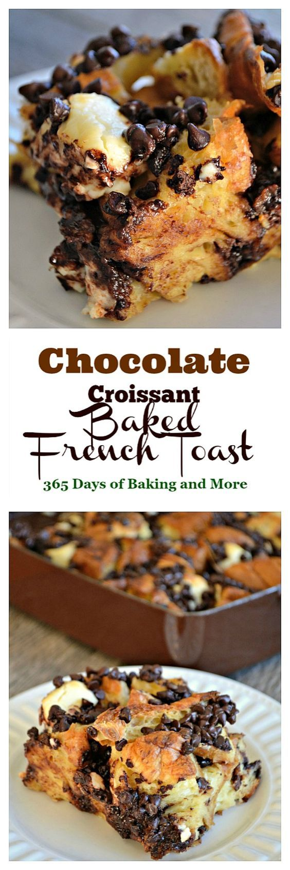 Chocolate Croissant Baked French Toast is chocolate, croissants, and cream cheese soaked overnight in an egg mixture. It's a delicious overnight breakfast.