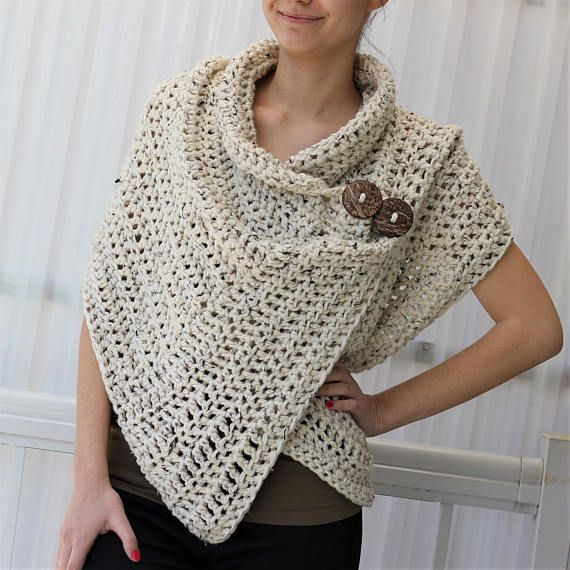 Welcome to The Easy Design! The design for this wrap is all about Easy to make and trendy to wear: using the simplest of shapes and easiest of textures. You have a choice of two finishing options, the pattern has two versions: one for bulky yarn and another for medium yarn ( cotton