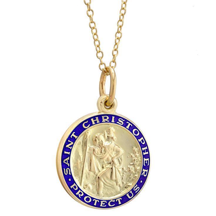 Betteridge 14k Gold St. Christopher Pendant with Blue Enamel