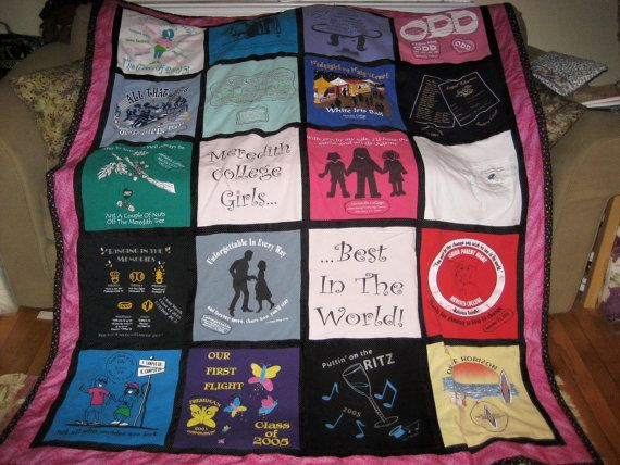 Custom TShirt Quilt ,20 blocks, vacation quilt, sports quilt, college quilt, memory quilt, Sorority Quilt , 68 X 83 in. Meredith College