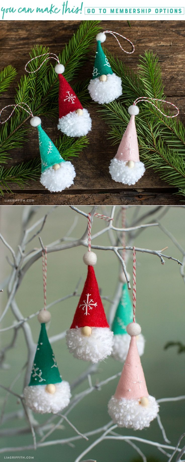Pom Pom Gnome Ornaments - Lia Griffith - www.liagriffith.com #diyinspiration #diychristmas #diyholiday #diyholidays #diyornaments #diyproject #diyprojects #tonttu #tomte #nisse #gnome #madewithlia