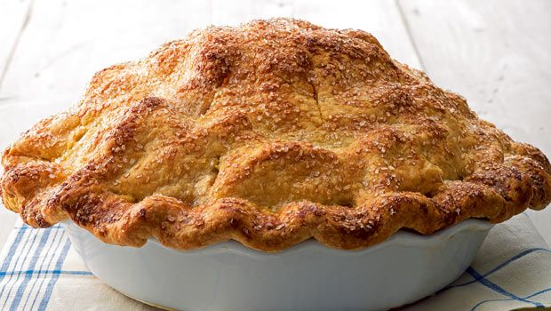 Golden brown, perfectly flaky, double-crust apple pie. Martha Stewart