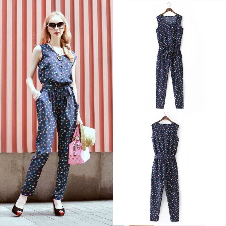 NEW Womens Jumpsuit Evening Printed Bodycon Vitage Jumpsuits Maxi Dress Romper #DL #Jumpsuit