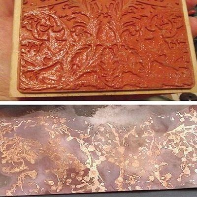 Fun jewelry-making experiments: Make Heat-Patina Designs on Copper Using Flux and Rubber Stamps