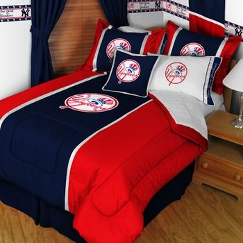 New York Yankees Bedding Set MLB Baseball Comforter And Sheets