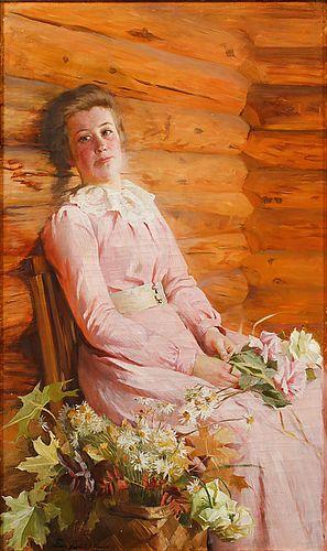 Emma Sparre (1851-1913) Porträtt av Ung Kvinna