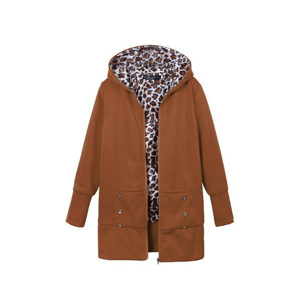 Plus Size Casual Leopard Print Hoodie Long Sleeve Slim Coat (192910 PYG) ❤ liked on Polyvore featuring outerwear, coats, camel, women's plus size coats, plus size camel coat, hooded coat, patterned coat and slim coat