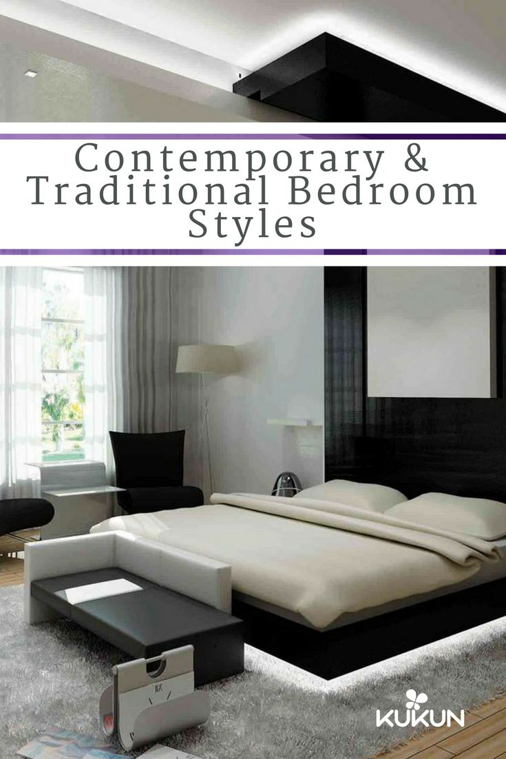 If you were to give your bedroom a makeover, which style would you go for? A traditional bedroom or a contemporary bedroom? Read our article on these styles and learn which style suits you best! [Gypsum Ceiling Ideas, Modern Bedroom Design, Master Bedroom Ideas, Floating Bed, Black And White Color Palette, Hardwood Floors, Built In Floating Shelves, Black Armchair]