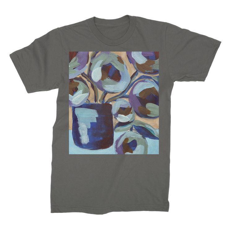 """""""Blue Abstract Floral"""" Unisex Fine Jersey T-Shirt"""