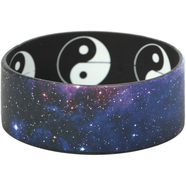 Galaxy Yin-Yang Reversible Rubber Bracelet | Hot Topic (£2.69) ❤ liked on Polyvore featuring jewelry, bracelets, accessories, wristbands, rubber bracelets, cosmic jewelry, rubber bangles and rubber jewelry