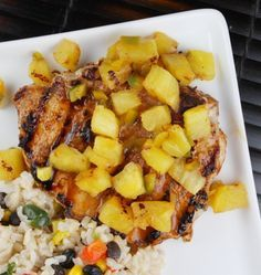 Chili Rubbed Pork Chops with grilled Pineapple salsa. I will omit the brown sugar to make it whole 30!