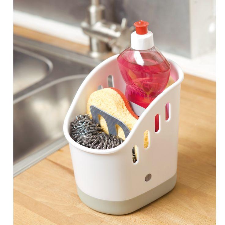 Ce support reste bien en place grâce à sa base antidérapante et se démonte entièrement pour un lavage facile ! Vous pouvez y ranger l'éponge, le produit vaisselle... En polypropylène et plastique résistant. Dim. 13,5 x 17 x 18 cm. Livré vide.