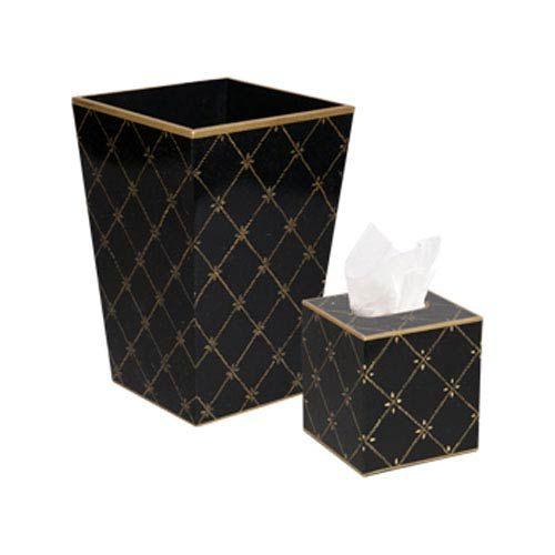 Gold/Black Rope Trellis Wastebasket and Tissue Box Holder