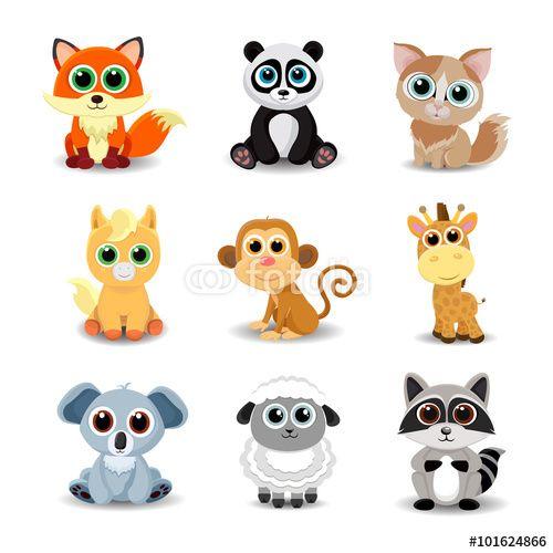 Vektor: Collection of cute animals including fox, panda, cat, pony, monkey, giraffe, koala, sheep and raccoon. Color vector illustration.