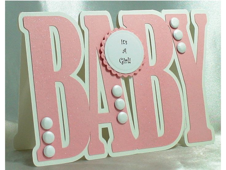 New Baby Card, New Baby Girl Card, Baby Girl Card, Birth Announcement, Congratulations baby girl, Girl Card, Baby shape, Handmade card - pinned by pin4etsy.com