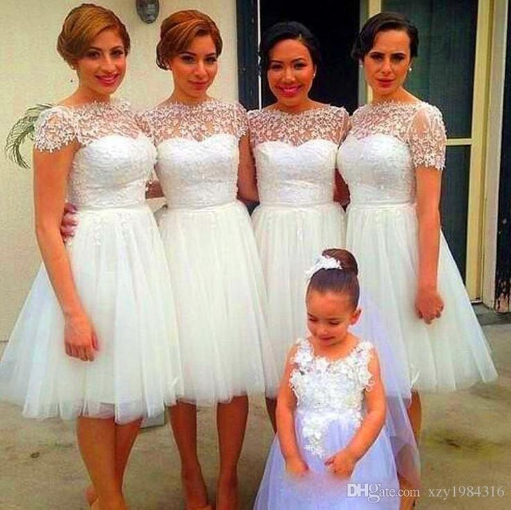 Sheer Neck Cap Sleeve Short Tulle Bridesmaid Dresses Lace Appliques Pure White Ruched Cheap Bridesmaid Dresses Tutu Wedding Party Dresses Cheap Dresses For Juniors Cute Bridesmaid Dresses From Xzy1984316, $94.58| Dhgate.Com