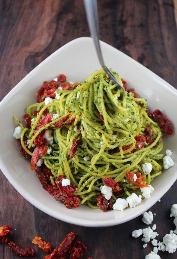 Sun Dried Tomato Kale Pasta and recipe for kale pesto