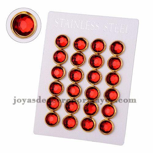 aretes de cristal rojo en acero dorado inoxidable -SSEGG384209