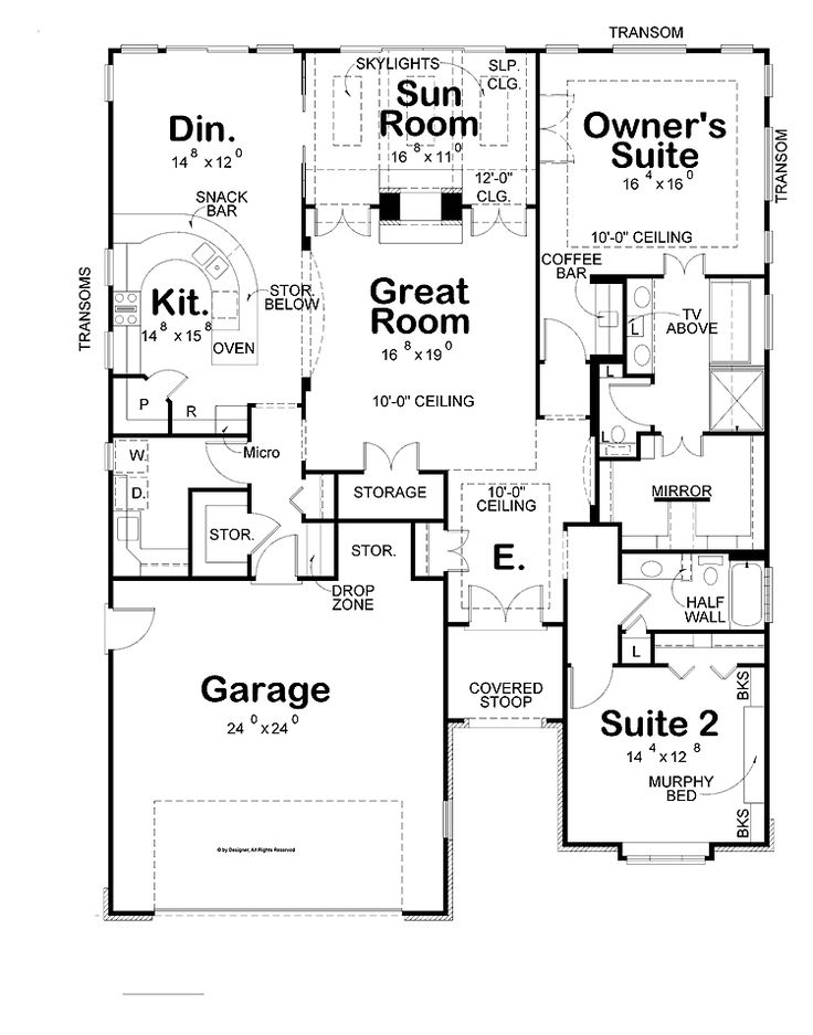 Awesome Two Bedroom House Plans For Small Land: Two Bedroom House Plans Large  Garage Modern Kitchen