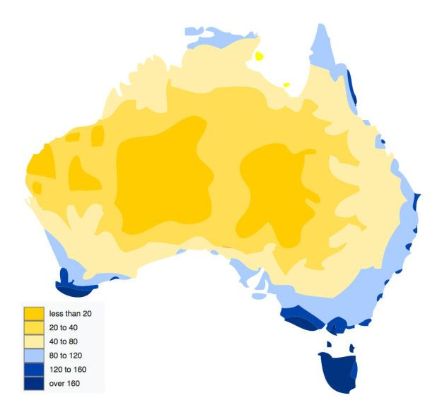 While this one shows how many days of rain each area averages.   29 Maps Of Australia That Will Kinda Blow Your Mind