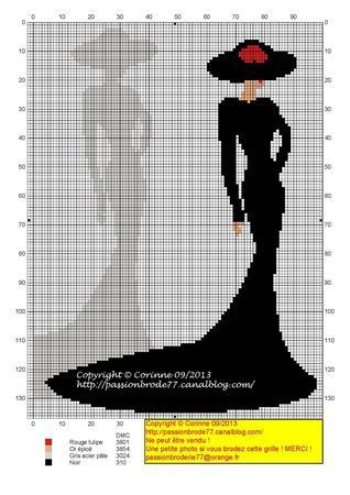 0 point de croix robe noire & son ombre - cross stitch black dress & its shadow