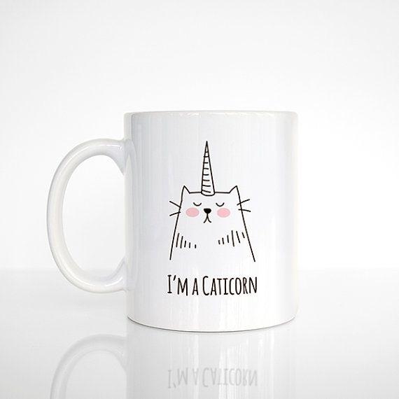 Tasse à café Caticorn, cadeau de Noël pour elle, chat tasse, Mug Licorne, Funny Mug, tasse mignon, chope Unique, licorne amateur Chat amoureux cadeau, tasse à café