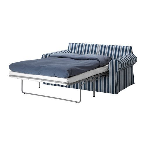 EKTORP Sofa bed as a bed. Abyn blue.