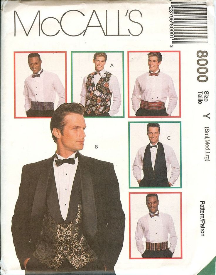 McCalls 8000 Mens Formal Vest Bow Tie Cummerbund sewing pattern Wedding UNCUT FF #McCalls8000 #WeddingFormalPartyCocktailBallDanceSoiree