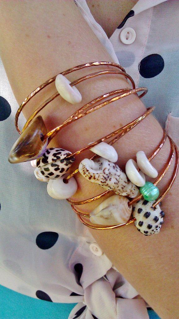 Shell Bangles, Set of 3 Custom Copper Beach Bangles, Hawaiian shell bangles