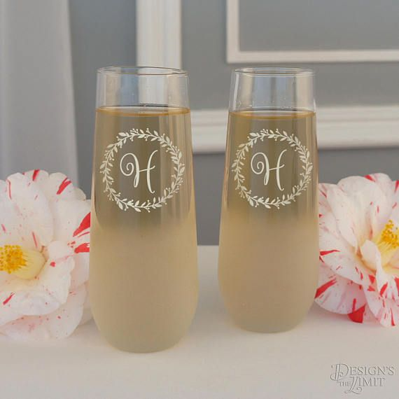 Design Your Own Stemless Champagne Flutes Personalized with Our Monogram Design Options & Font Selection (Select Type of Glass - Each) by DesignstheLimit #TrendingEtsy