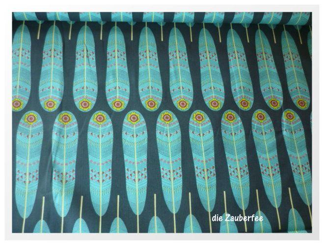 """Petite Plume"" Federn blau, Camelot fabrics von die Zauberfee auf DaWanda.com"