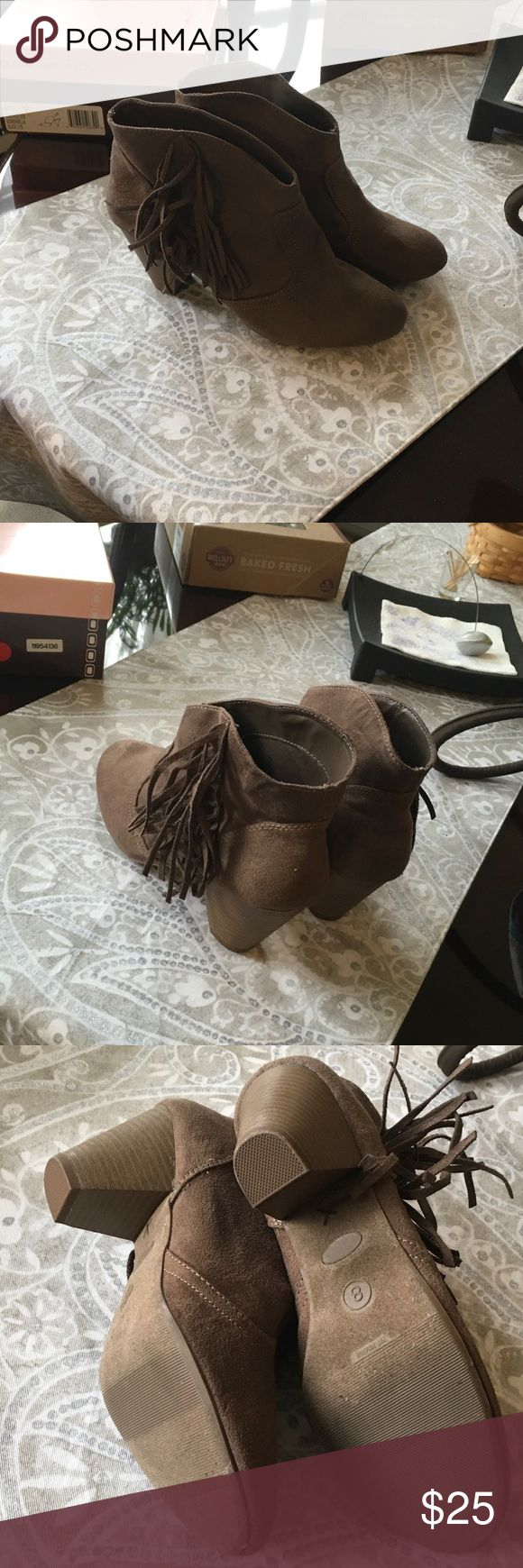 Suede boots from American outfitters Brown with fringes on side American Eagle Outfitters Shoes Heeled Boots