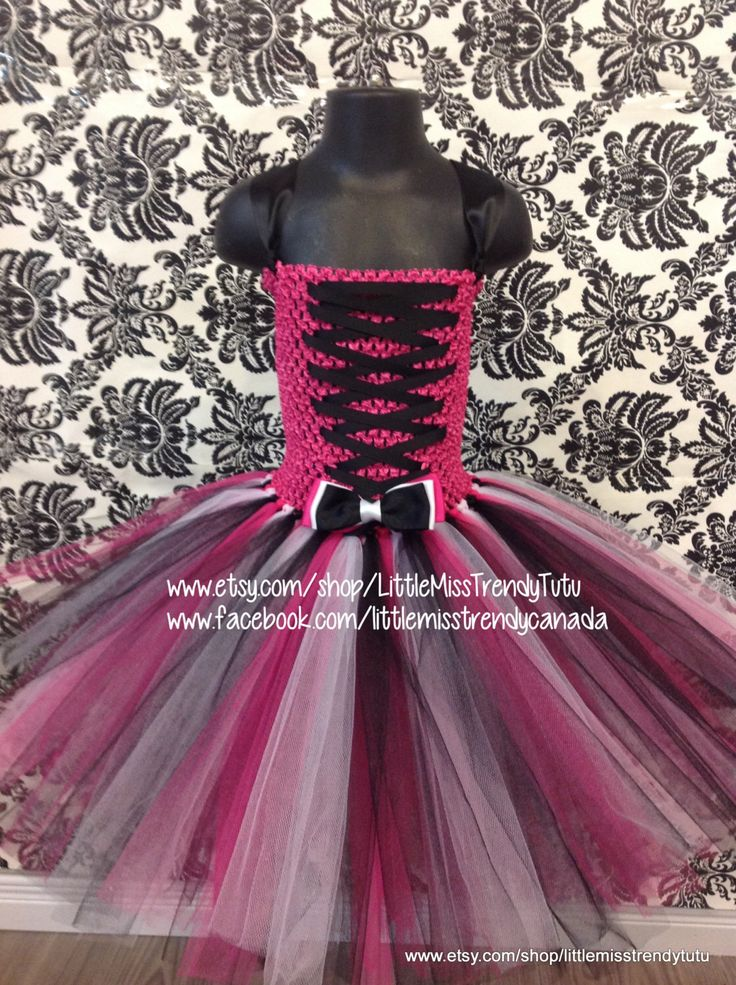 Monster High Tutu Dress, Pink, White and Black Tutu Dress, Children's Tutu Dress, Pink Newborn to 6T Tutus, Pink, White and Black Tutu Dress by LittleMissTrendyTutu on Etsy https://www.etsy.com/listing/241032138/monster-high-tutu-dress-pink-white-and