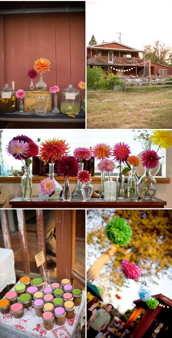 @Kerri Van Eps-I like the simplicity of this party. One flower in vases, jam for favors, burlap table runners.
