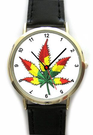 Ganja Leaf Design Wristwatch in Rasta Colors  by YourWatchDesign, £17.99