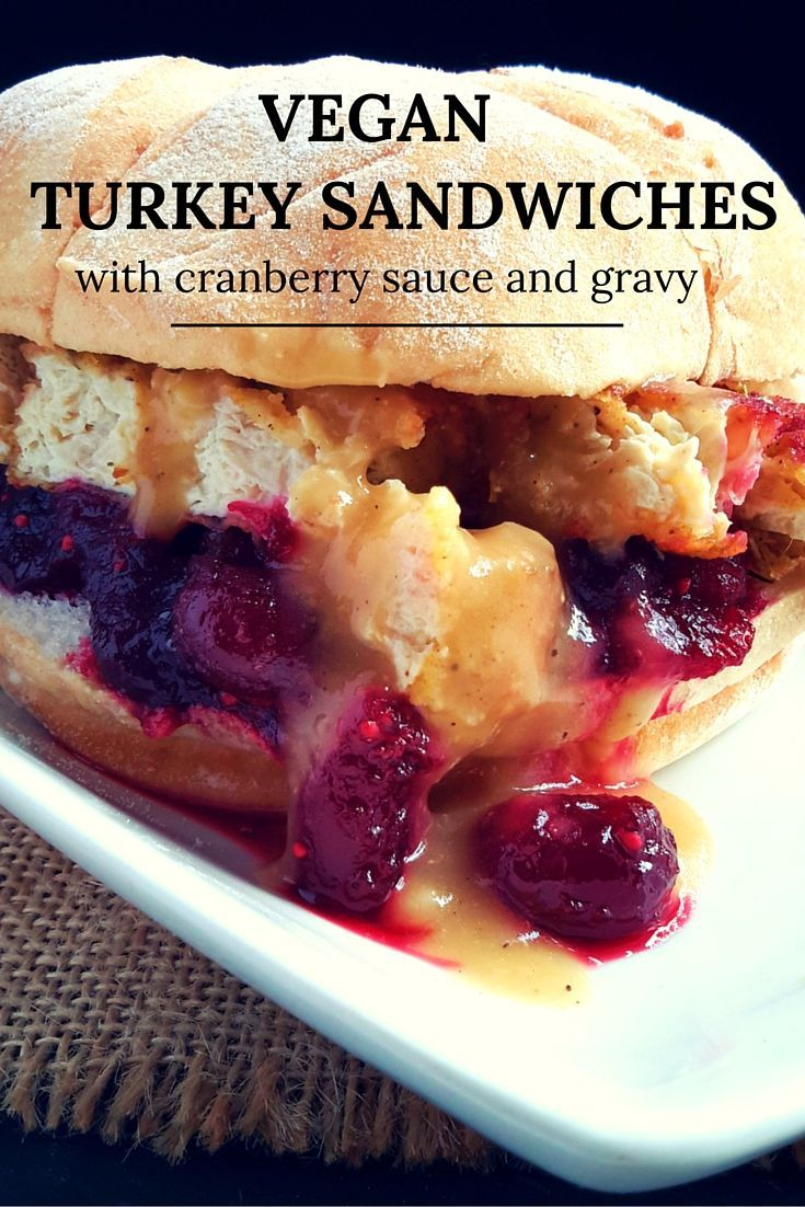 Day after Christmas leftover (vegan) turkey sandwiches with cranberry sauce and vegan gravy. These sandwiches will take you back to your pre-vegan days!