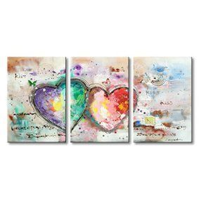 Heart shaped wall décor is trendy, adorable and charming. You can get all kinds of unique home décor ideas from looking at different pieces of heart wall art décor and come up with something interesting and cute of your own. I love combining heart wall clocks with abstract metal shaped wall art along with some heart shaped wall décor accents    Everfun Handmade Oil Painting 3 Panels Contemporary Artwork Abstract Canvas Wall Art Colorful Heart Picture