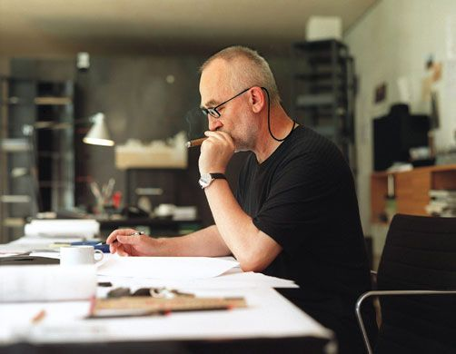 Credit: Martin Ruetschi/AP Relatively unknown outside his profession, Peter Zumthor, working in his office in Haldenstein, Switzerland, in 2000, has won the 2009 Pritzker architecture prize