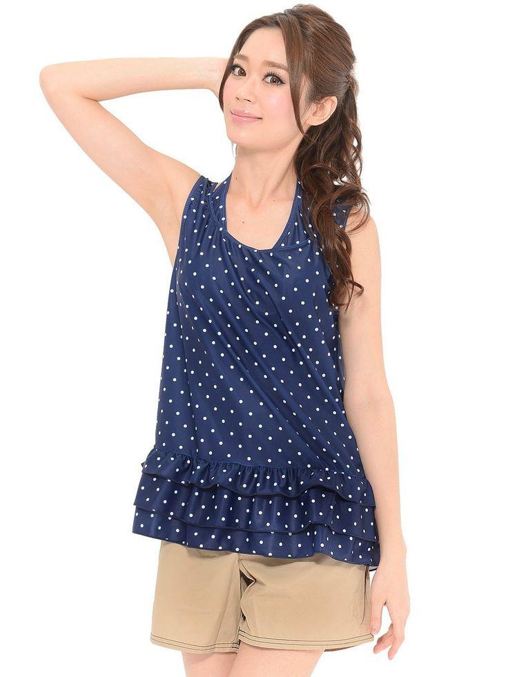 Amazon.co.jp: 【11-5123l レディース水着 トップス&ショートパンツ付 ビキニ 4点セット 大きいサイズ ドット柄】: 服&ファッション小物