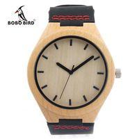 BOBO BIRD F09 Клена Часы Мужская Дизайн Бренда Luxury Real кожа с Красной Нитью Кварцевые Часы для Мужчин в Подарочной Коробке