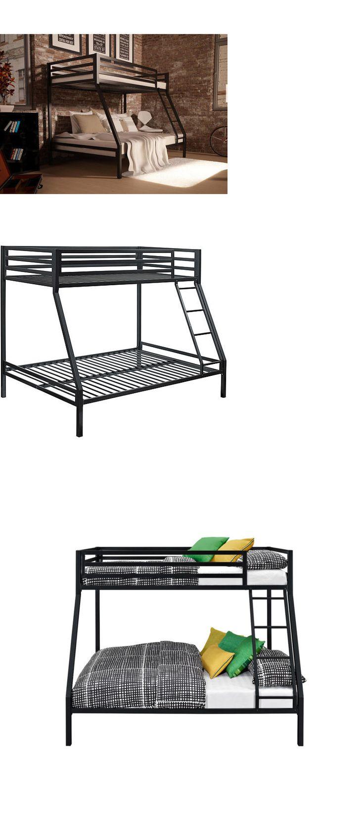 Kids Furniture: Twin Over Full Bunk Bed Black Metal Ladder Kids Bedroom Furniture Beds Frame BUY IT NOW ONLY: $220.66