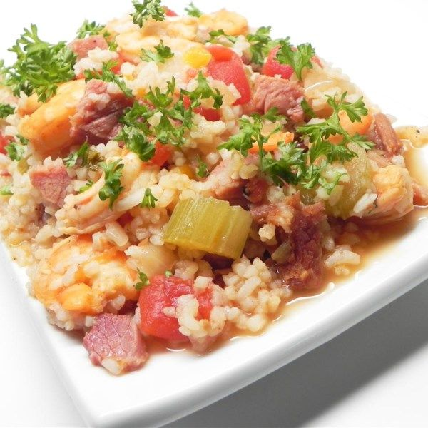 "Ham and Shrimp Jambalaya | ""Made this for a crowd of college students and it got rave reviews."" #recipe #entertaining #holidays #mardigras"