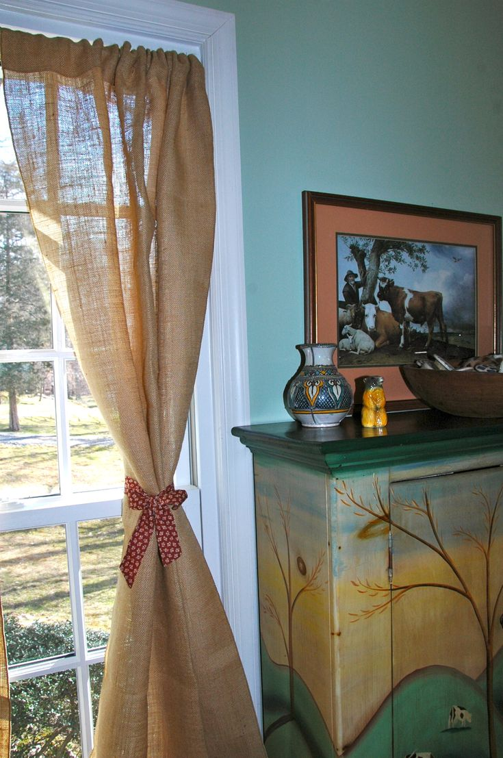 Rustic curtains and drapes - Burlap Drapes Rustic Curtains