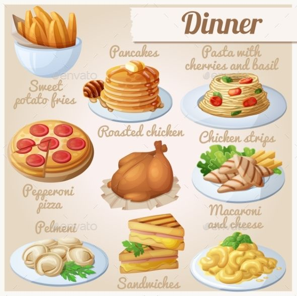 Set Of Food Icons. Dinner by Annzabella Set of food icons. Dinner. Sweet potato fries, pancakes, pasta with tomato cherries and basil, pepperoni pizza, roasted chicken, c