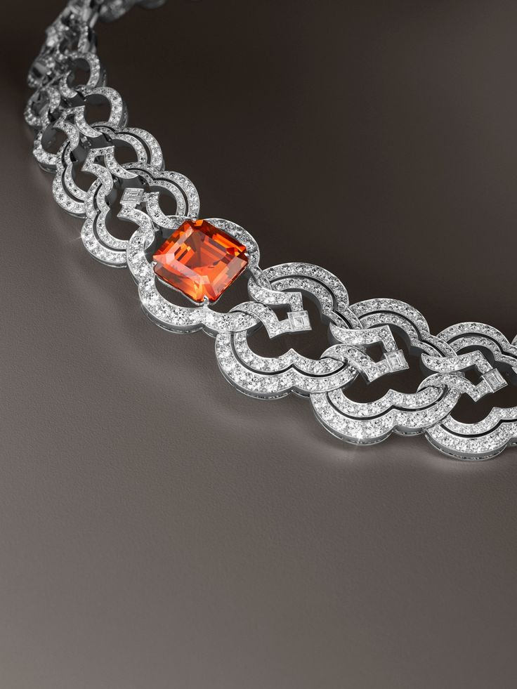 Louis Vuitton 16.82 carat mandarine garnet and diamond one of a kind Conquêtes bracelet.