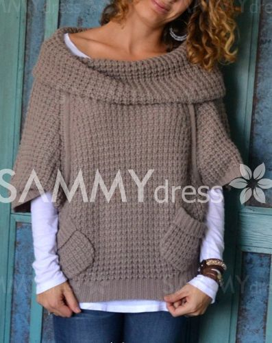Chic 3/4 Sleeve Pure Color Pocket Design Sweater For Women